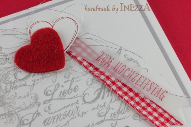 Kleinesbild - Grußkarte zum Hochzeitstag Handarbeit in Rot Weiß Silbern Silberne Hochzeit