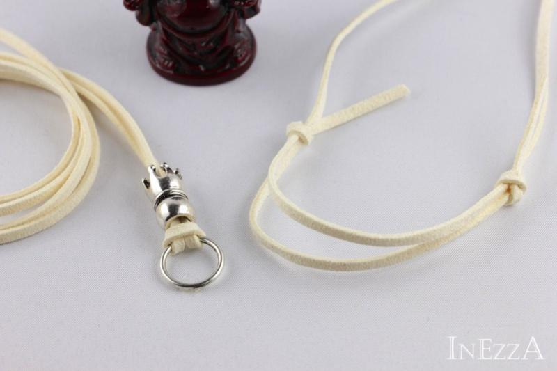 Kleinesbild - VELOURBasisband Cremefarben mit Krone und Ring für Wechselanhänger Charmkette