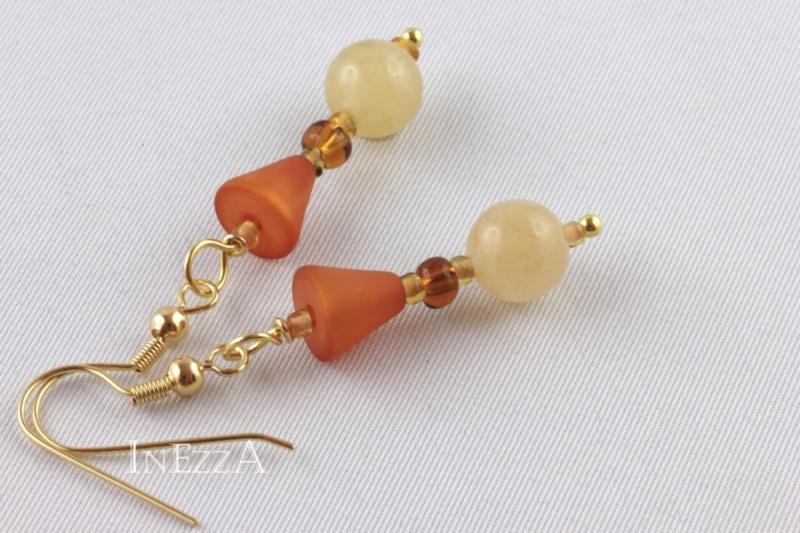 - Perlenohrringe in herbstlichen Naturtönen - Perlenohrringe in herbstlichen Naturtönen