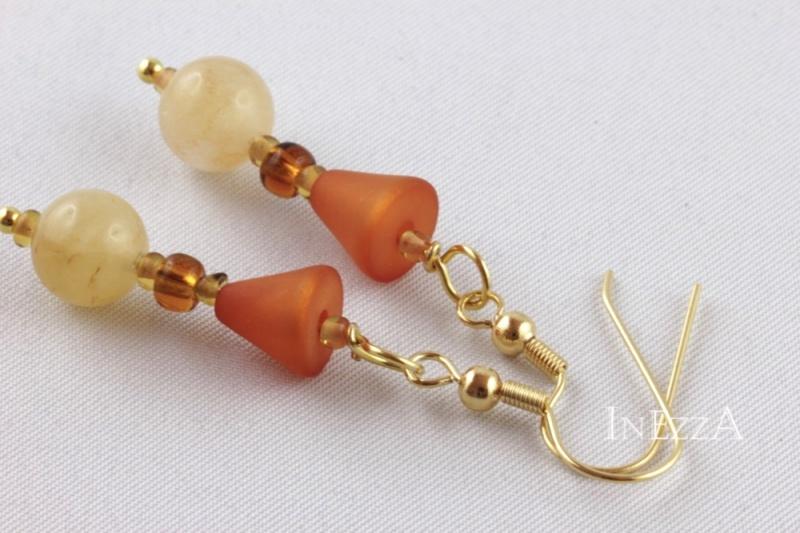 Kleinesbild - Perlenohrringe in herbstlichen Naturtönen