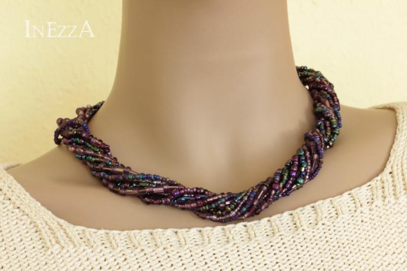 - Halskette Collier lila violett Glasperlen Statementkette - Halskette Collier lila violett Glasperlen Statementkette
