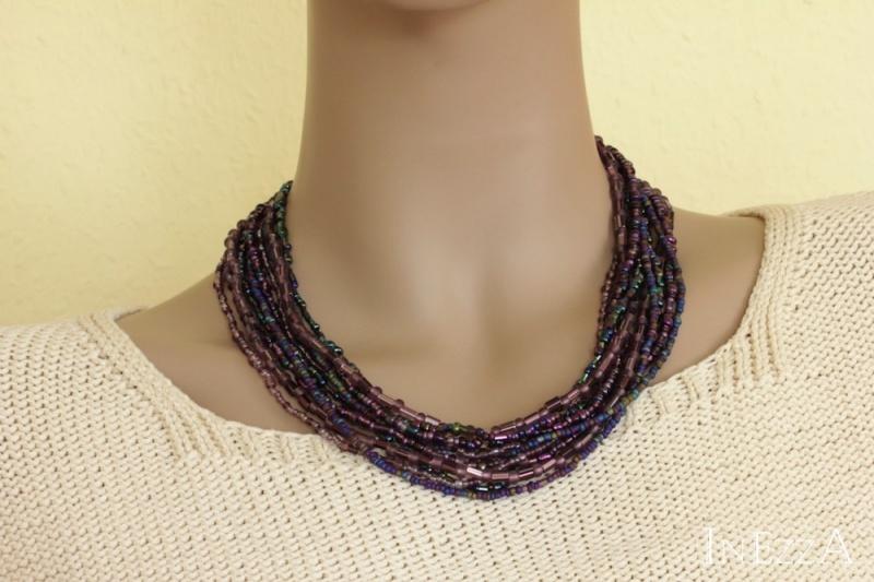 Kleinesbild - Halskette Collier lila violett Glasperlen Statementkette