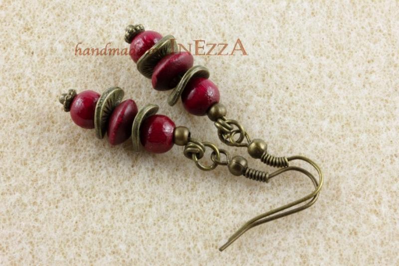 - Ohrringe weinrot und bronzefarben mit Holzperlen - Ohrringe weinrot und bronzefarben mit Holzperlen