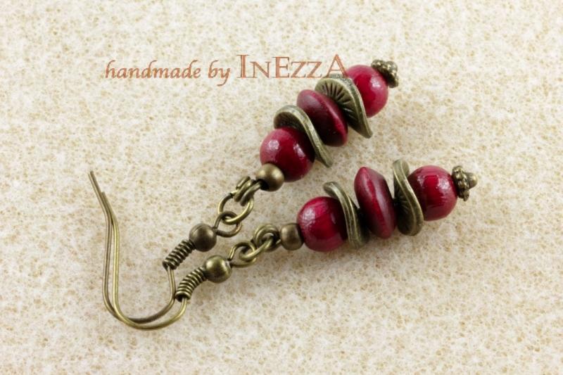 Kleinesbild - Ohrringe weinrot und bronzefarben mit Holzperlen