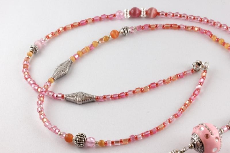 Kleinesbild - Bettelkette rosa pink orange Y-Kette mit Kashmirperle