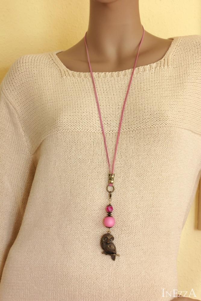 Kleinesbild - Lange Kette mit Eule XXL bronzefarben und Rosa Handarbeit