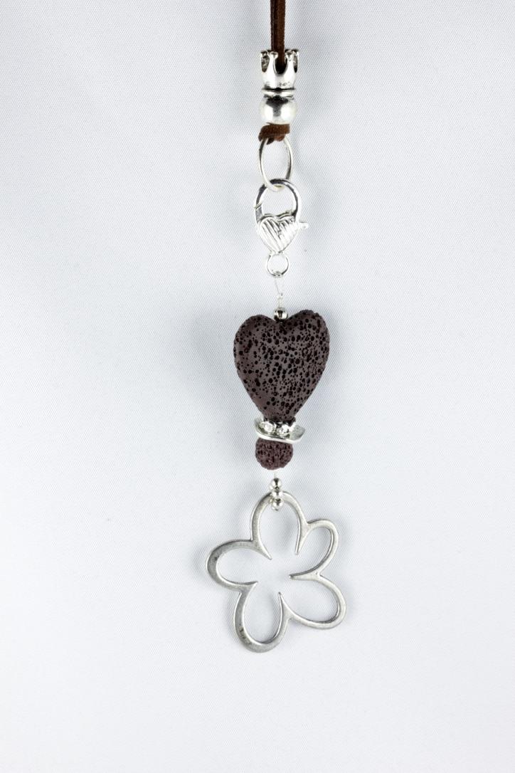 - Anhänger mit Lava-Herz und Blume in braun silbern für Wechselkette Handarbeit - Anhänger mit Lava-Herz und Blume in braun silbern für Wechselkette Handarbeit