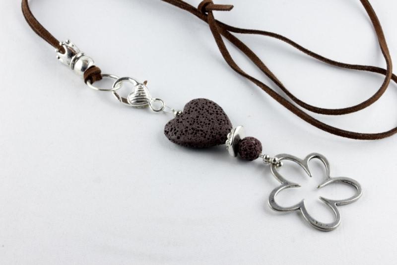 Kleinesbild - Anhänger mit Lava-Herz und Blume in braun silbern für Wechselkette Handarbeit