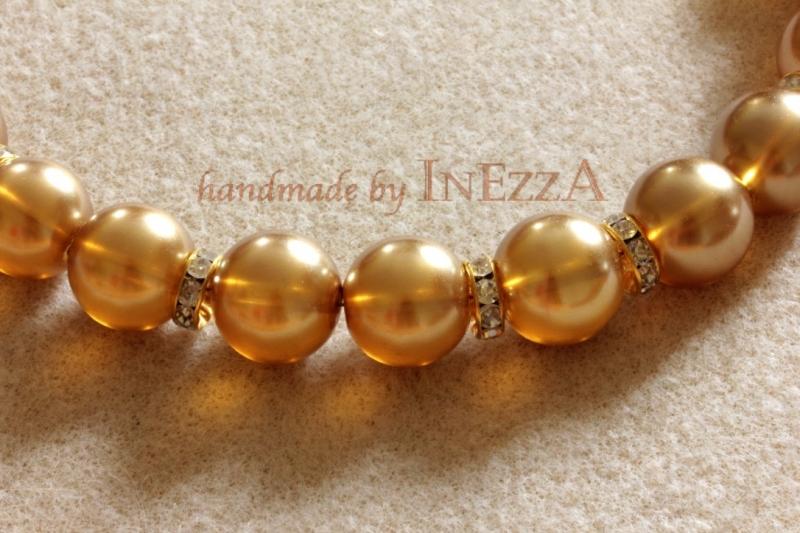 Kleinesbild - Statementkette Collier goldfarben champagnerfarben opulent und edel Handarbeit
