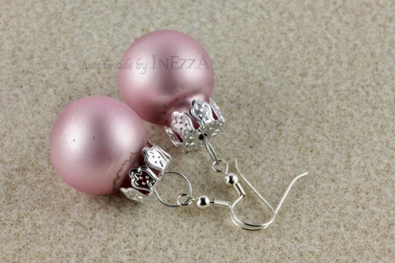 Kleinesbild - Ohrringe Weihnachtskugeln ☆ rosa rose matt silbern ☆ zur Weihnachtsfeier