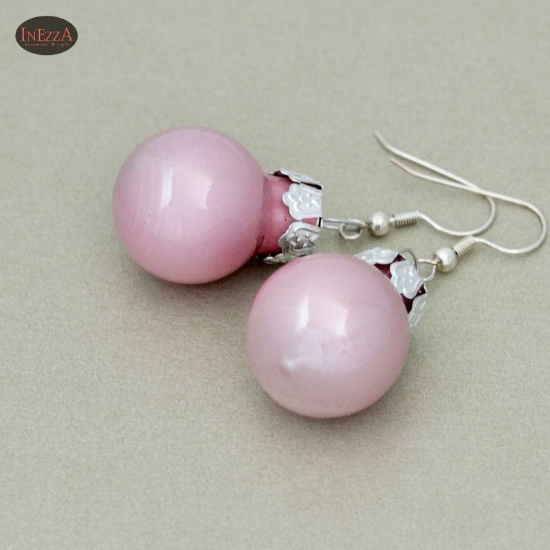 Kleinesbild - Ohrringe Weihnachtskugeln ☆ rosa rose glänzend silbern Adventskalenderfüllung