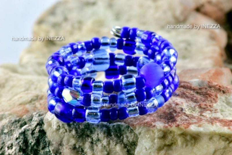 - Spiralring Einheitsgröße Memory Wire Blau Ringbreite 9 mm - Spiralring Einheitsgröße Memory Wire Blau Ringbreite 9 mm