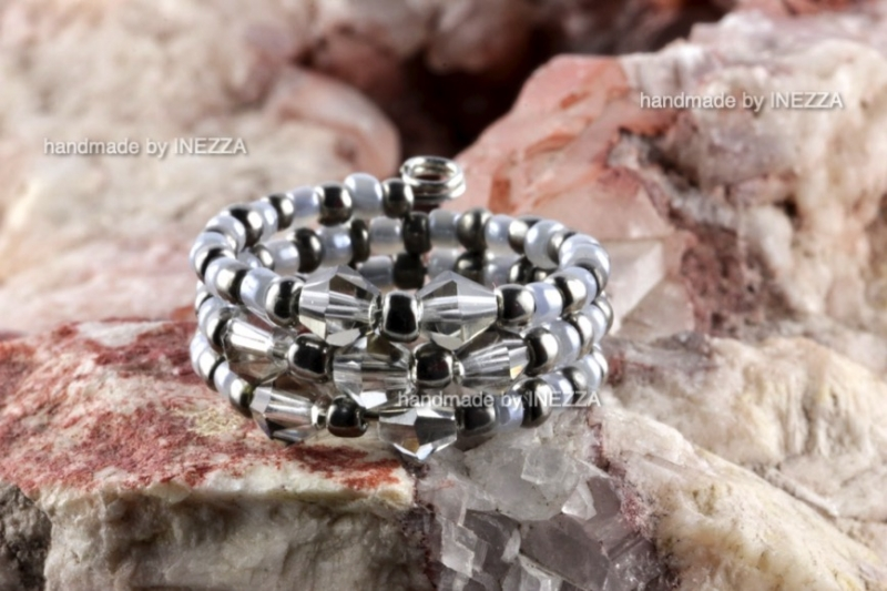 - Spiralring Einheitsgröße Memory Wire Grau Ringbreite 10 mm - Spiralring Einheitsgröße Memory Wire Grau Ringbreite 10 mm