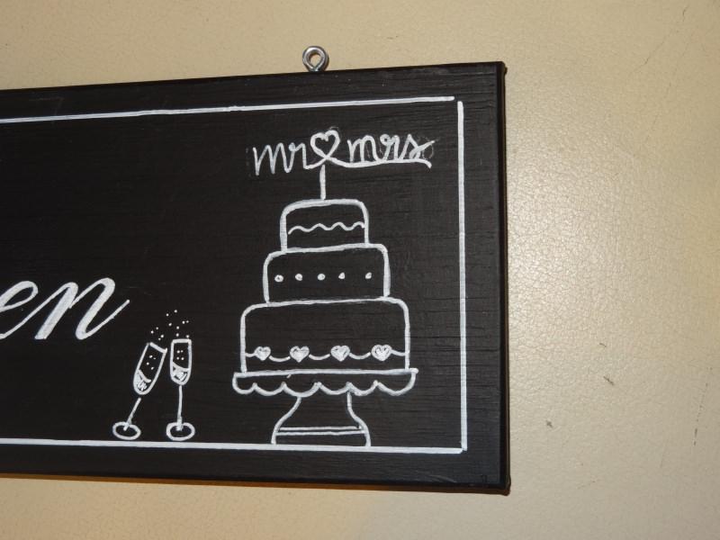 Kleinesbild - Tafelkreide Schild Abendessen, handbemalt für eine Vintage Hochzeitsdekoration