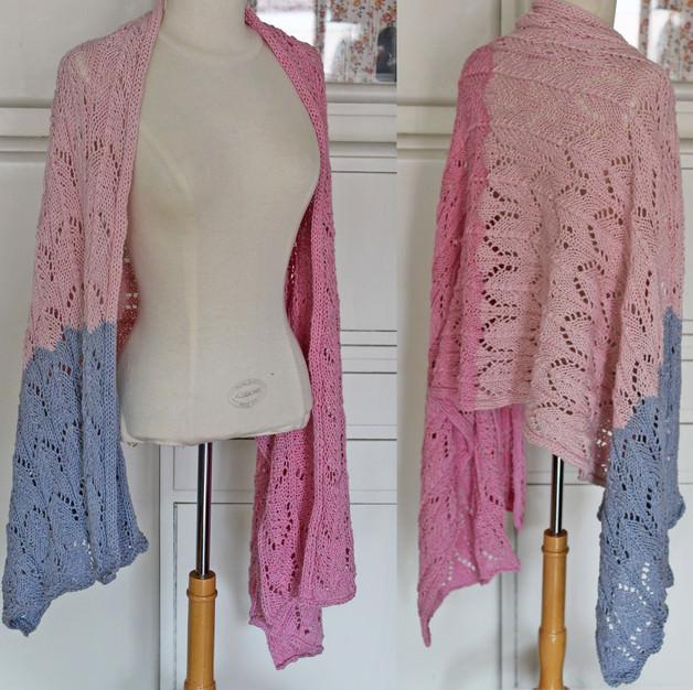 - Lochmuster-Strick-Tuch aus Kaschmir & Baumwolle rosa/blau - Lochmuster-Strick-Tuch aus Kaschmir & Baumwolle rosa/blau