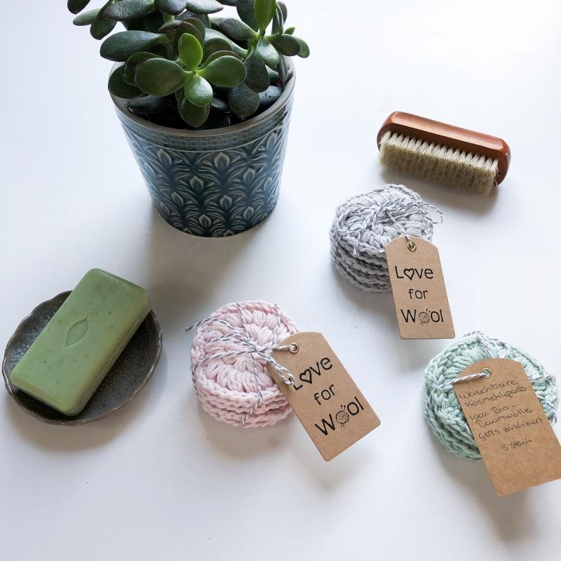 - Waschbare Kosmetikpads aus 100% Bio-Baumwolle - 5er Pack - Waschbare Kosmetikpads aus 100% Bio-Baumwolle - 5er Pack