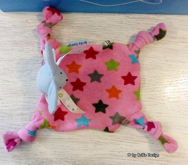 Kleinesbild - Schnuffeltuch ♡Mausi♡ rosa Sterne - Schmusetuch - Kuscheltuch zum Knuddeln und Liebhaben! handmade BriKe Design