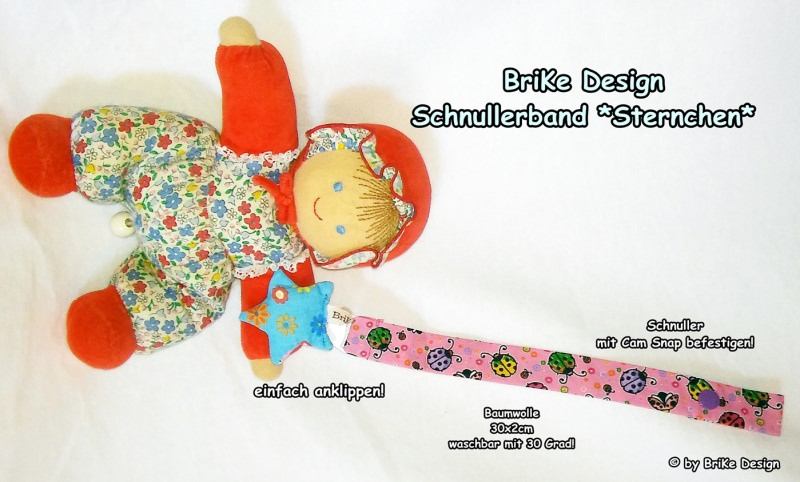 Kleinesbild -  ♡Band Sternchen♡ rosa/blauer Stern♡ handmade BriKe Design