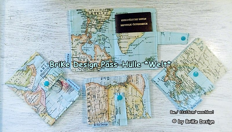 -  ☀stylische Reise-Pass-Hülle Welt☀ handmade BriKe Design -  ☀stylische Reise-Pass-Hülle Welt☀ handmade BriKe Design