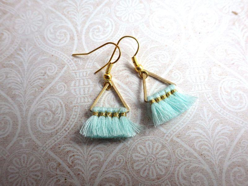 - Statement Ohrringe mint Triangel - goldfarbene Ohrhänger mit geometrischen Metall Anhänger - Statement Ohrringe mint Triangel - goldfarbene Ohrhänger mit geometrischen Metall Anhänger