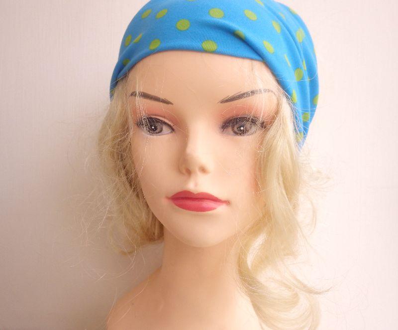 Kleinesbild - türkis hellgrün gepunktet - Haarband Haarbänder extra breit HairBand, Yoga, Wellness