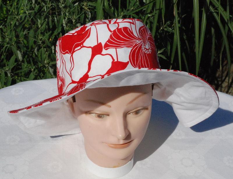 Kleinesbild - Sonnenhut für Damen rot-weiß