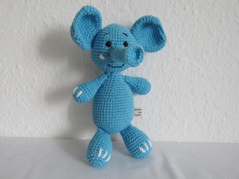 Spielsachen : Kuscheltier Elefant gehäkelt aus Bio-Baumwolle ...