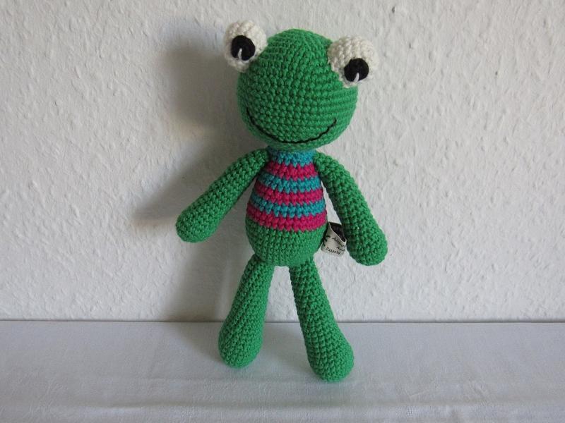 Spielsachen : Kuscheltier Frosch gehäkelt aus Bio-Baumwolle ...
