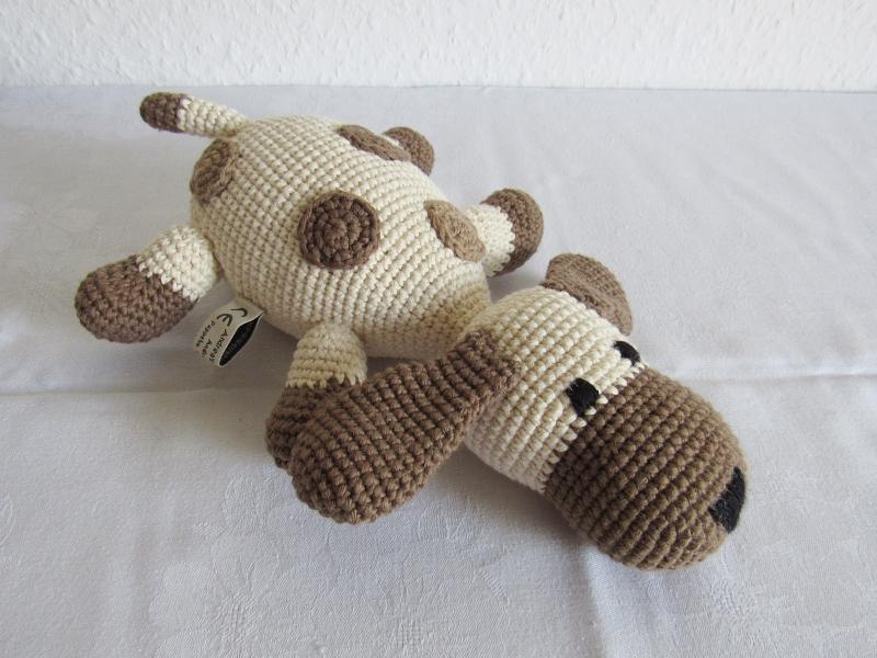 Spielsachen : Kuscheltier Hund gehäkelt aus Bio-Baumwolle, Häkeltier ...