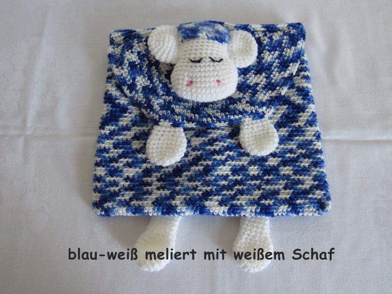 - gehhäkelte Schlafanzugtasche mit Schaf, auch als Kissenhülle verwendbar - gehhäkelte Schlafanzugtasche mit Schaf, auch als Kissenhülle verwendbar