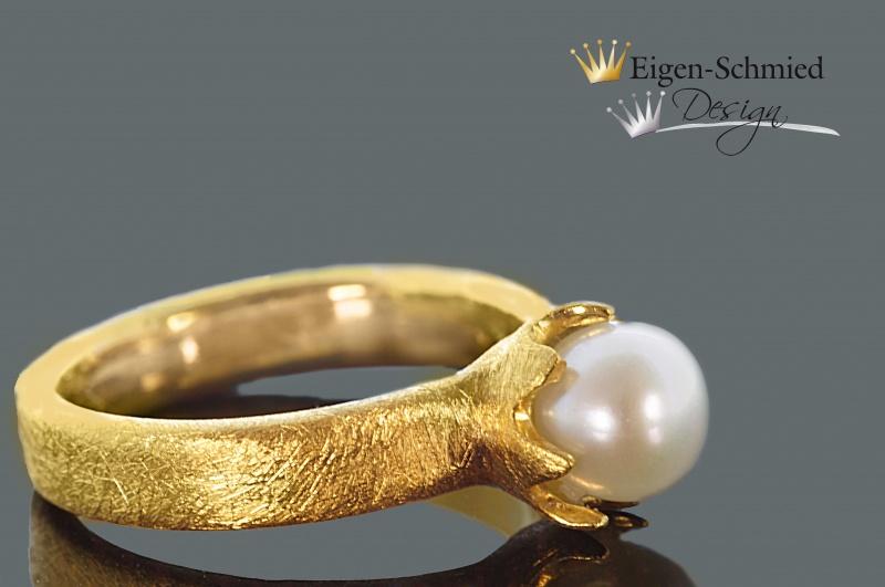 Kleinesbild - Goldschmiedering Perlenring