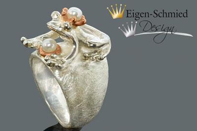 """Kleinesbild - Goldschmiede Froschring Silberring """"Foschkönig Paulchen"""", Perlenschmuck, Ring mit Frosch, Ringe Silber handmade, Krone, Froschkönig, Silberschmuck, Sterling Silber, massiv"""