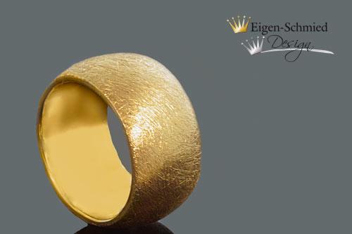 """Kleinesbild - """"to scratched"""" Goldschmiedering , Silber mit 22 karätigen Goldplattinierung, Damenring, Herrenring, massiv, handgefrtigt, Verlobungsring, Ring handmade, edel"""