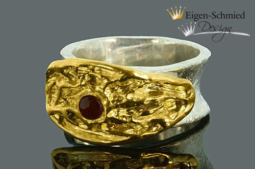 """Kleinesbild - Goldschmiedering """"Plate"""" , Silberring mit Vergoldung, massiv, Granat, Ring, Ringe, Damenring, Silberschmuck, Fingerring, handgefertigt"""