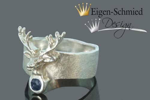 """Kleinesbild - Goldschmiede Silberring """"deer"""", Hirsch, Geweih, Hirschgeweih, Valentinstag, Saphir, Ring, Ringe, handgefertigt, Goldschmiedearbeit, Ostern"""