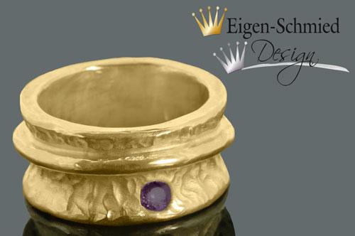 """Kleinesbild - Goldschmiede Ring """"Charme"""" in 925er Sterling Silber mit einer 22 karätigen Goldplattinierung, Goldschmuck, Gold, Schmuck, handmade, massiv, Unikat,  Ringe Gold, breit"""