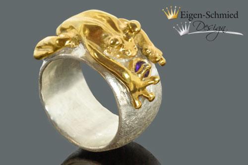 "Kleinesbild - Goldschmiede Froschring ""Frosch Baileys"", Silberring handmade, Sterling Siber mit Teilvergoldung, massiv, Ringe Damen, Ringe handmade, Goldschmiedearbeit"
