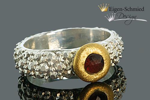 """Kleinesbild - Goldschmiedering """"frosted"""" , Silberschmuck handmade, Ring Damen, 925 Sterling Silber mit Teilvergoldung, Schmuck Damen, Goldschmiedearbeit, ring silber 925"""