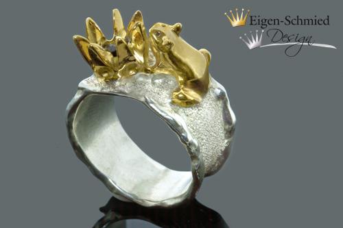 """Kleinesbild - Goldschmiede Silberring, """"Frosch Sam mit Krone"""", Ring mit Frosch, Silberschmuck handmade, Frosch, Krone, Weihnachten, Geschenk für Sie,  Ring, Ringe"""