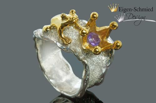 """Kleinesbild - Goldschmiede Froschring """"Frosch mit Krone"""", Frosch, Krone, Silberring, Schmuck handmade, Ring Damen, Weihnachten Geschenk für Sie, 925 Sterling Silber, massiv"""