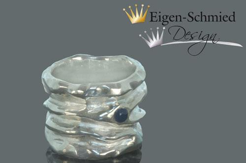 "Kleinesbild - Goldschmiede Silberring ""the big one"", breiter Ring Damen, 925 Sterling Silber, massiv, Unikat Silberschmuck handmade, Handarbeit, Goldschmiedearbeit"