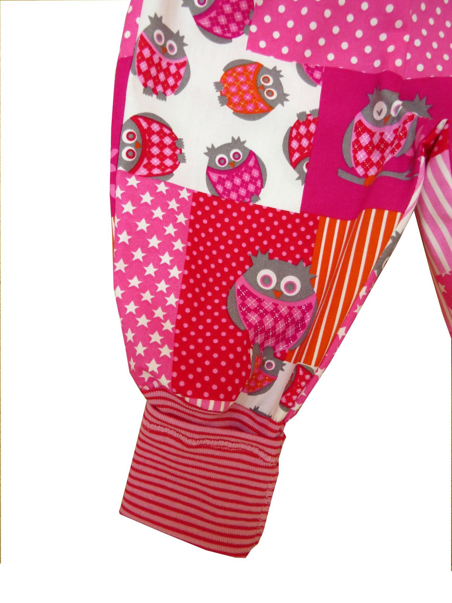 Kleinesbild - Mitwachshose Eulen Hose Pumphose Babyhose rosa pink