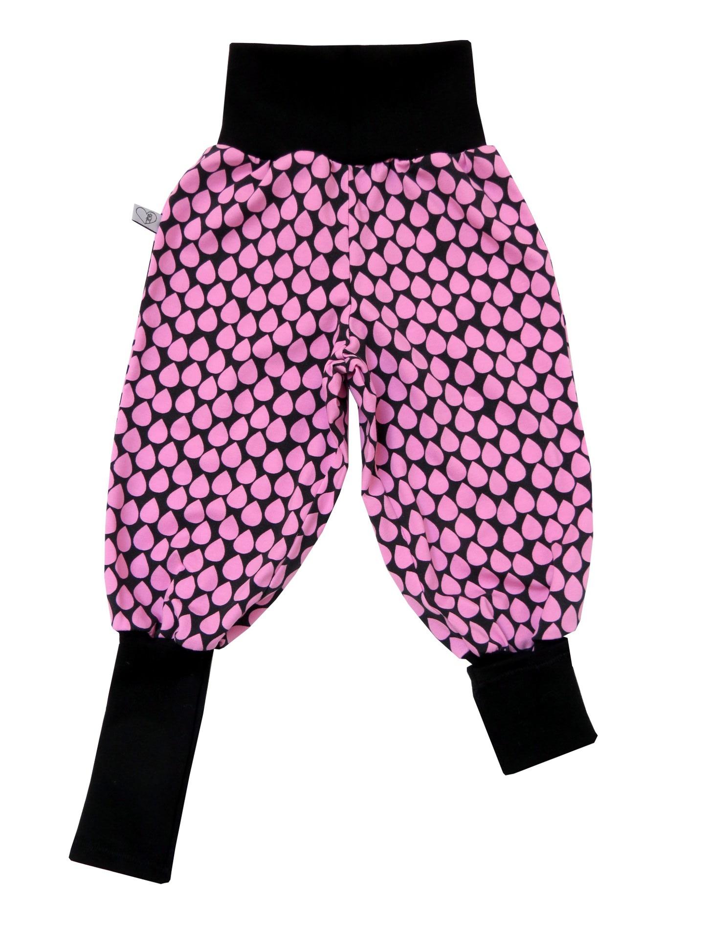 Kleinesbild - Mitwachshose Tropfen Hose Pumphose in rosa und schwarz