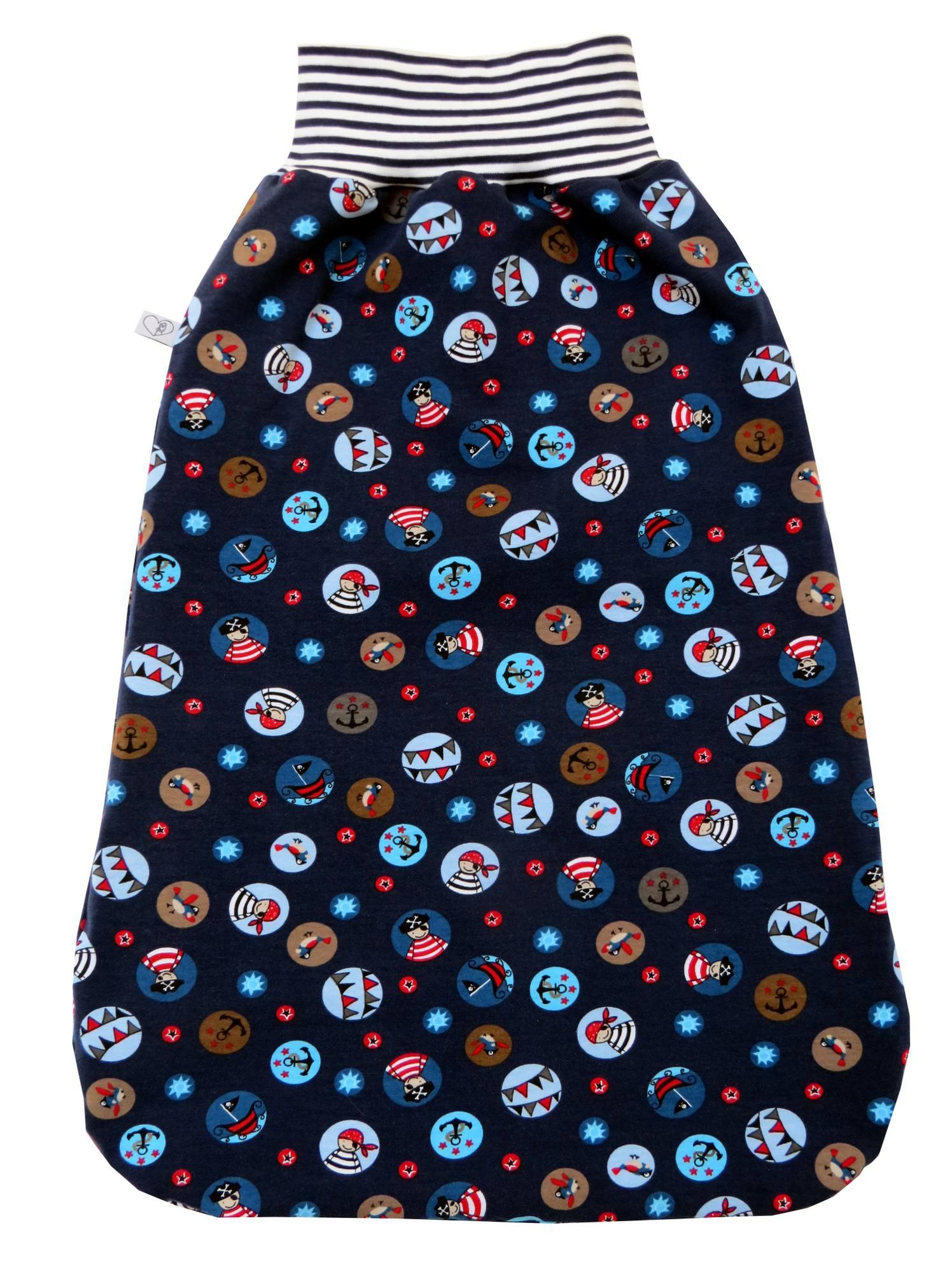 Kleinesbild - Schlafsack Piraten Fußsack Pucksack in blau mit Piratenmotiven