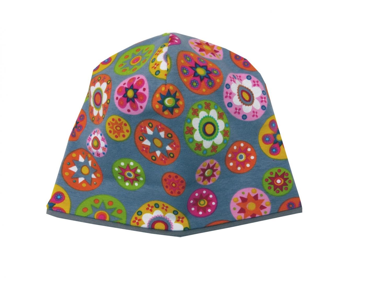 Kleinesbild - Mütze in grau mit bunten Blumen Babymütze