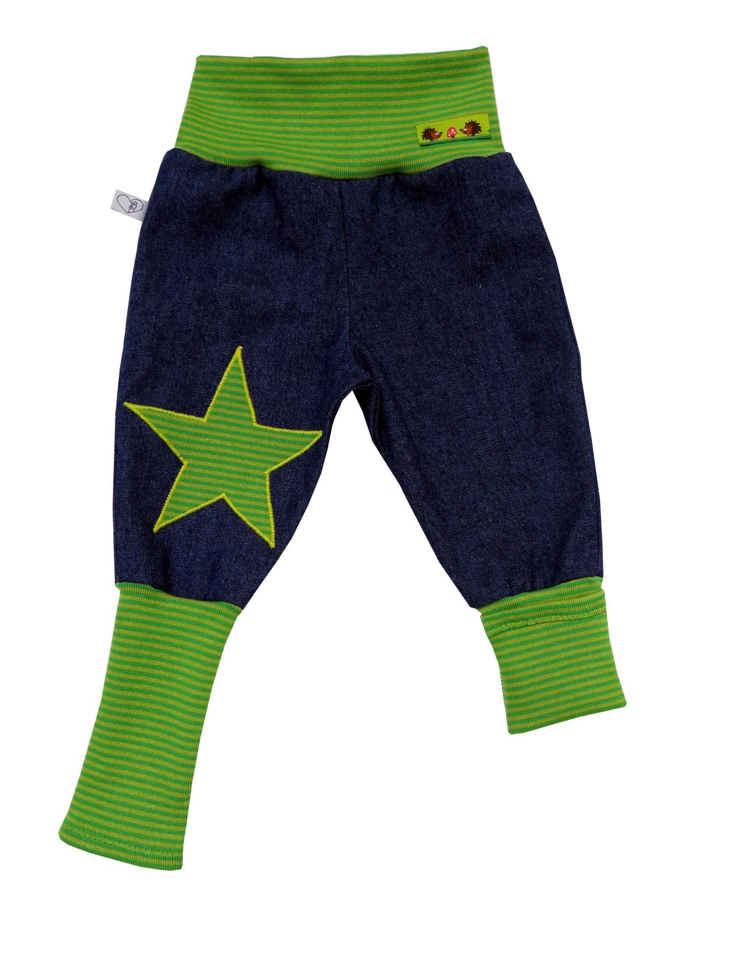 Kleinesbild - Jeans Mitwachshose Stern grün Babyhose Hose Pumphose