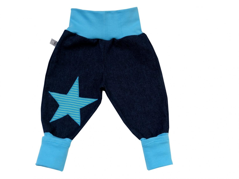 - Jeans Mitwachshose Stern türkis Babyhose Hose Pumphose - Jeans Mitwachshose Stern türkis Babyhose Hose Pumphose