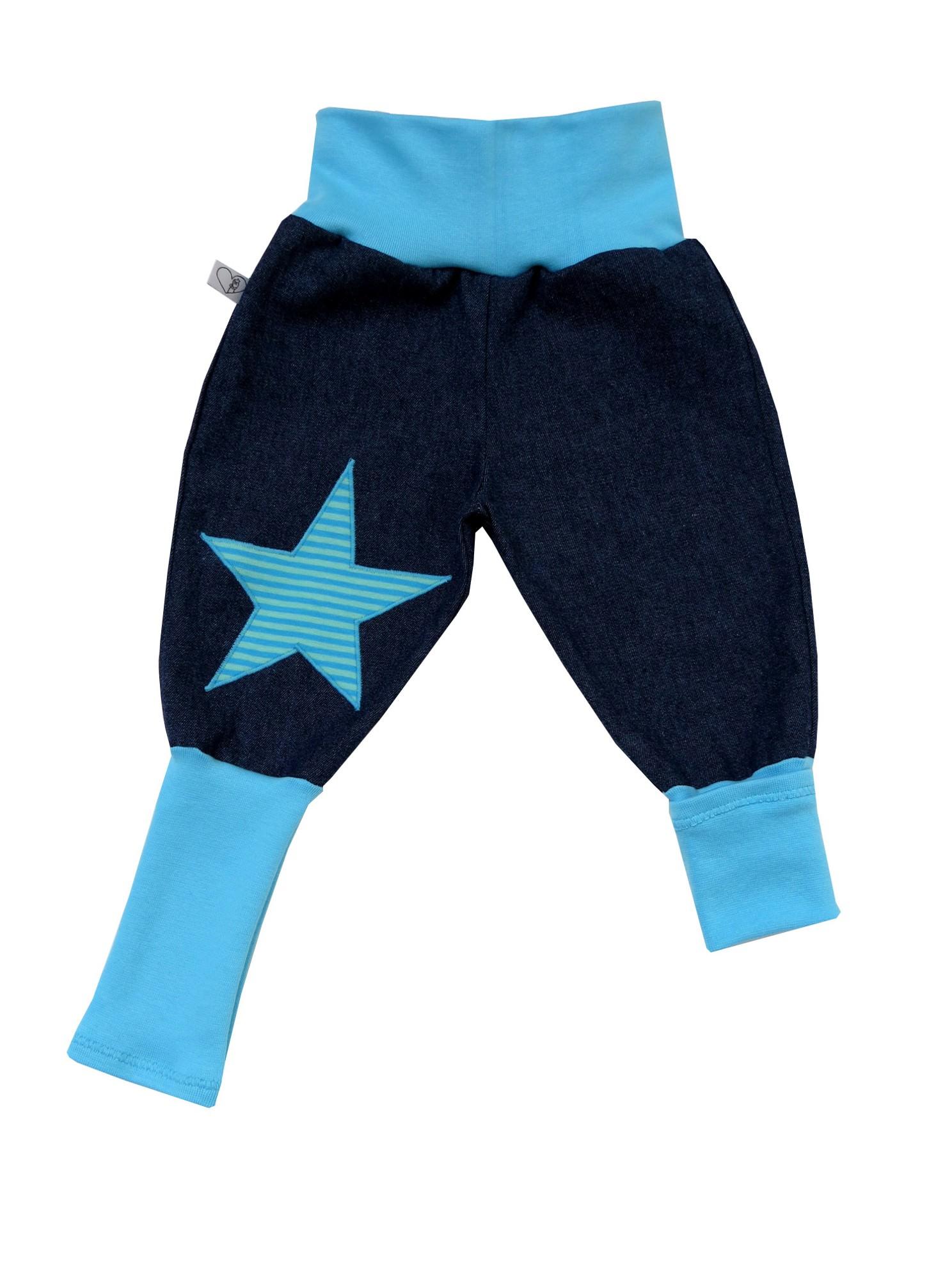 Kleinesbild - Jeans Mitwachshose Stern türkis Babyhose Hose Pumphose