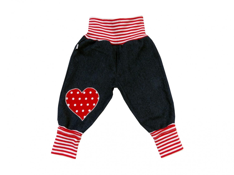 - Jeans Mitwachshose Herz rot Babyhose Hose Pumphose - Jeans Mitwachshose Herz rot Babyhose Hose Pumphose
