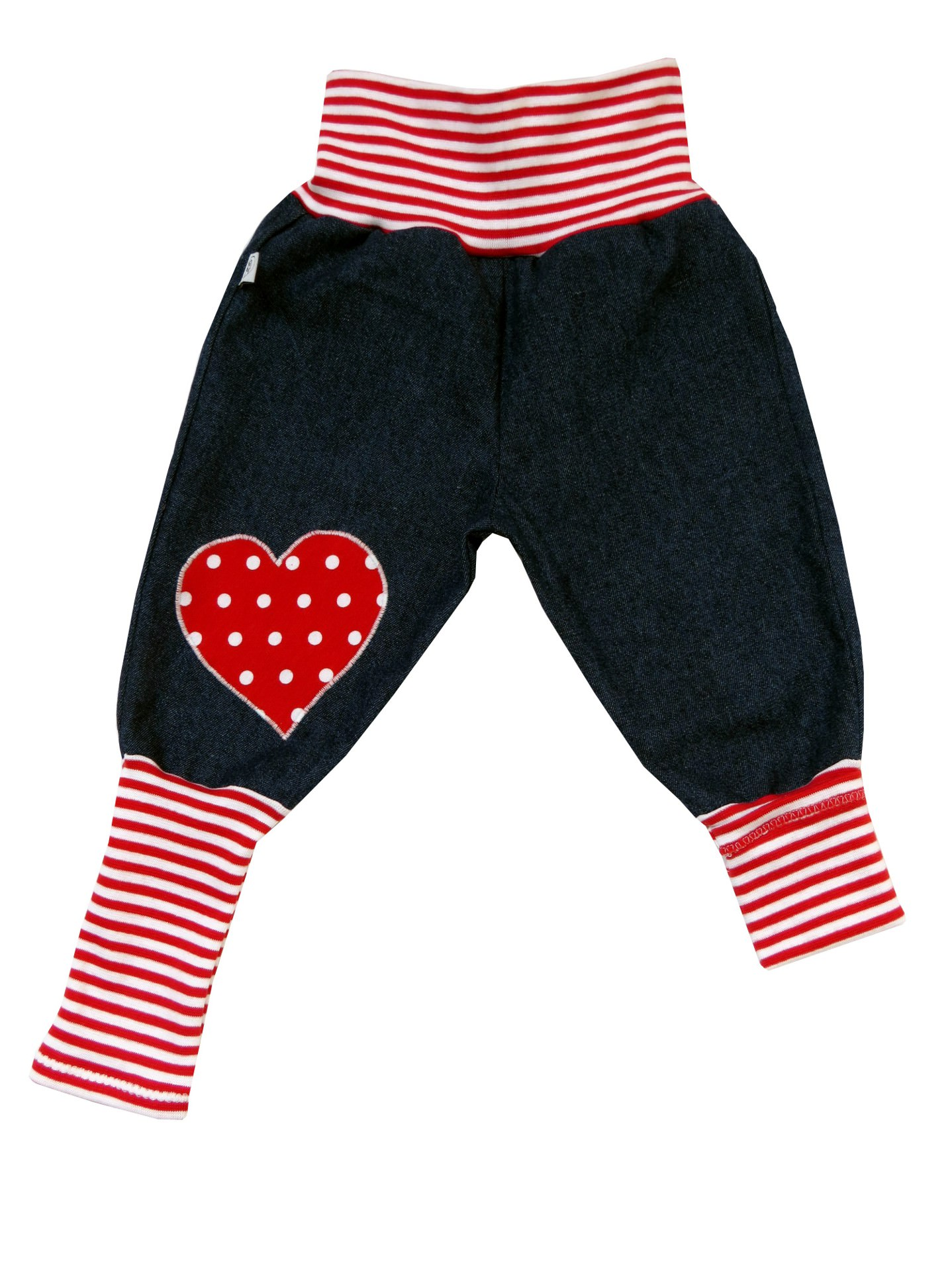 Kleinesbild - Jeans Mitwachshose Herz rot Babyhose Hose Pumphose